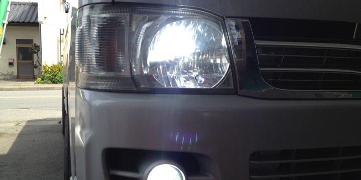 ハイエース200系フォグ・ヘッドライトHID取り付け