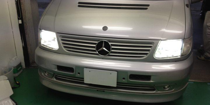 メルセデス・ベンツVクラスW638LoビームHIDとポジションランプのLED化