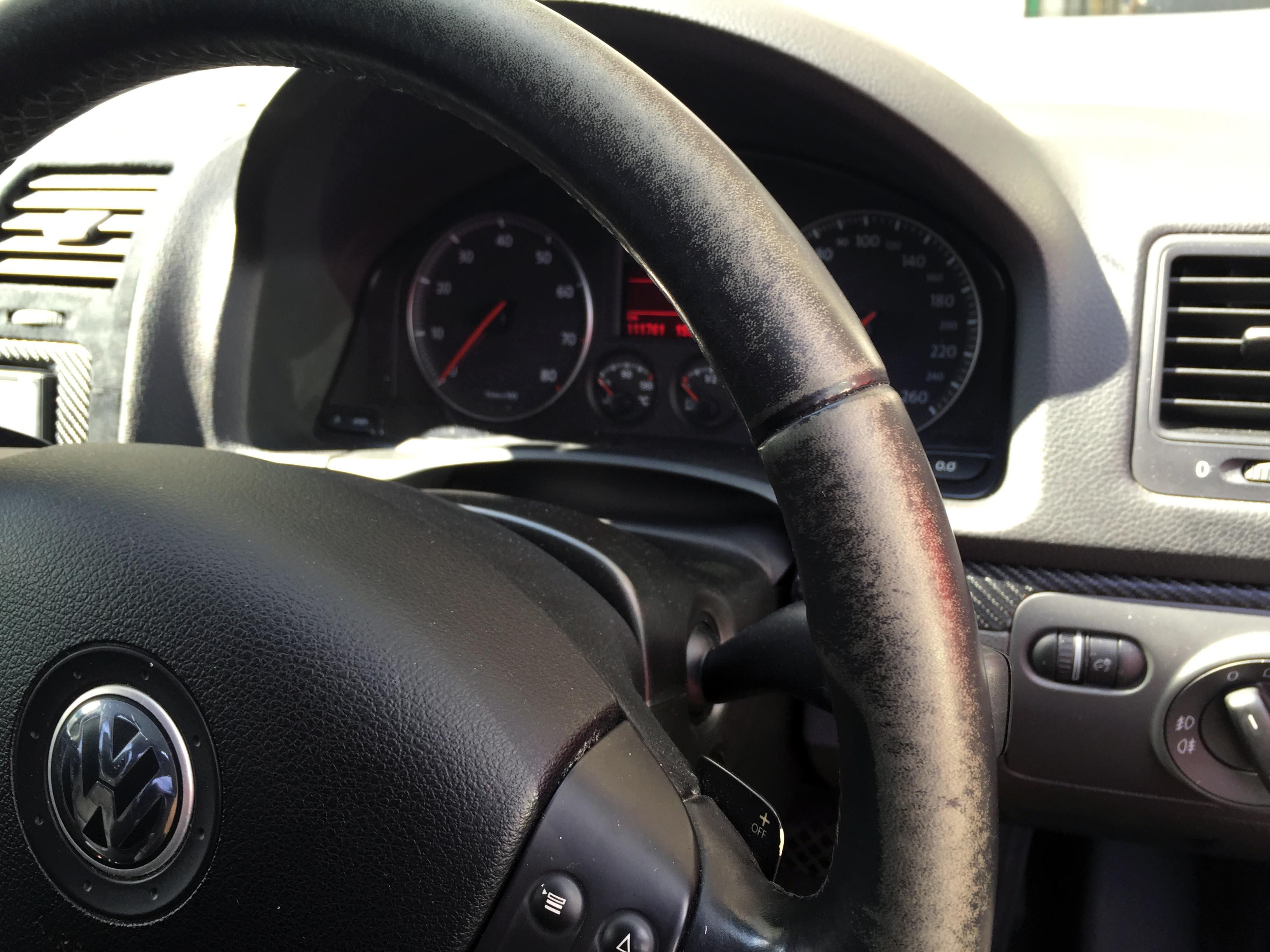 VWジェッタステアリングホイール染色前