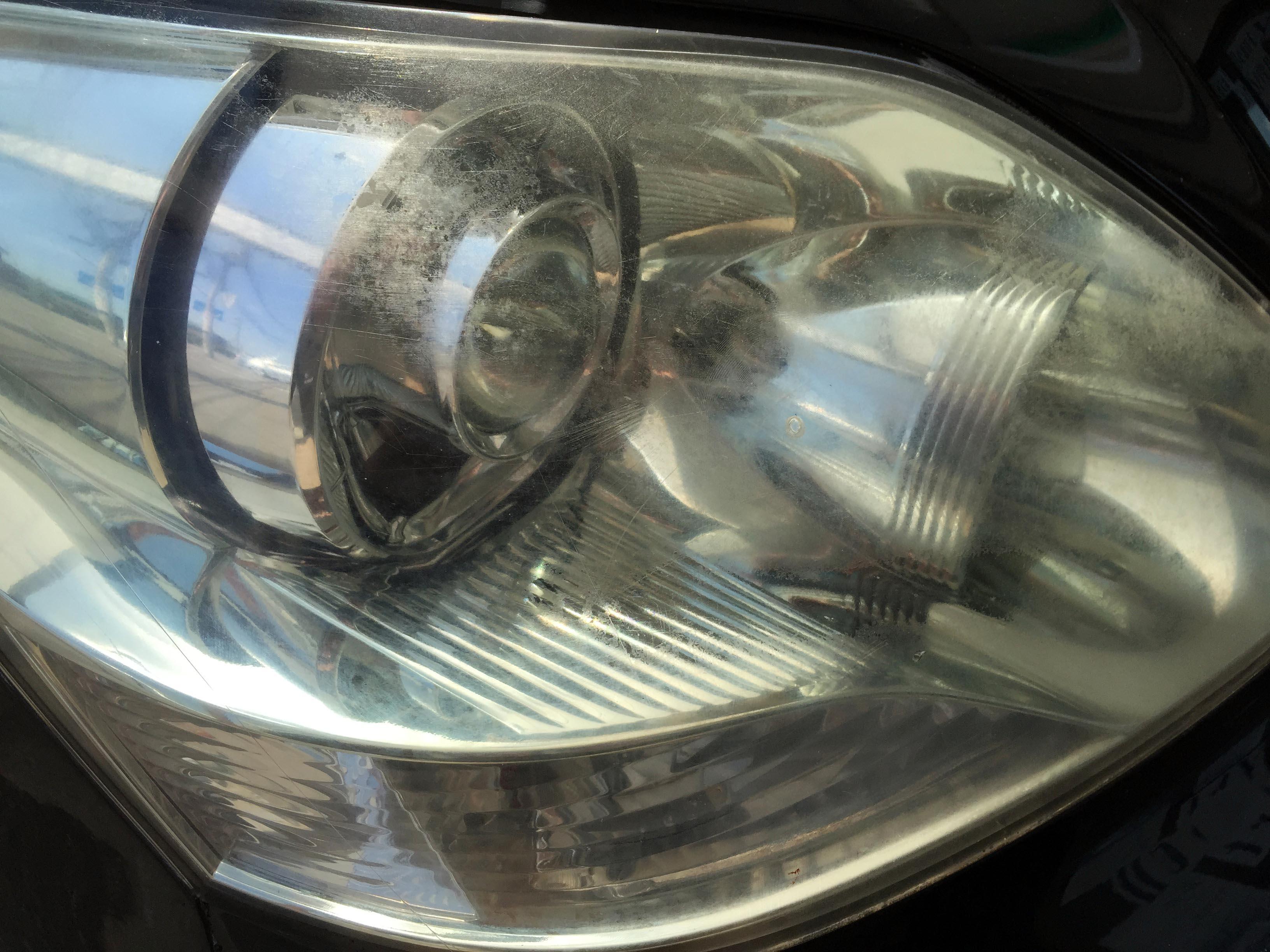 トヨタ30セルシオヘッドライトリフレッシュ(黄ばみ取り)前の状態
