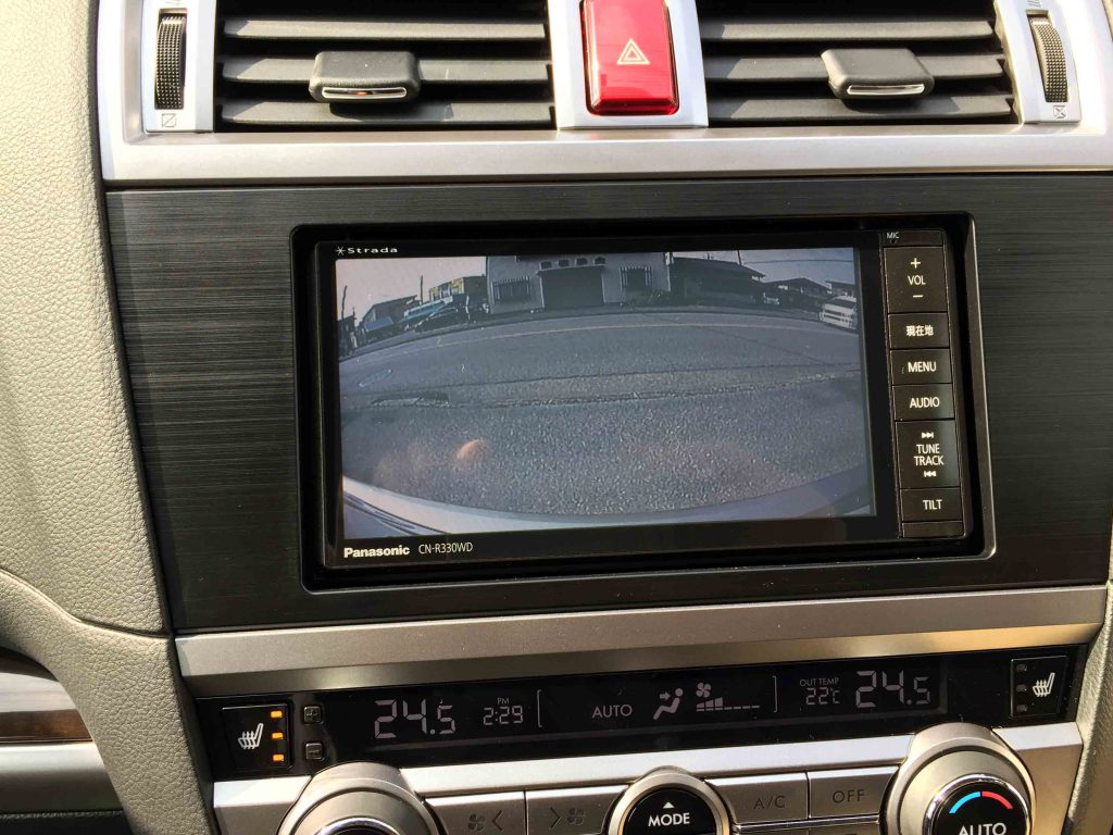 スバルBS9アウトバックへ取り付けたナビのバックカメラ映像
