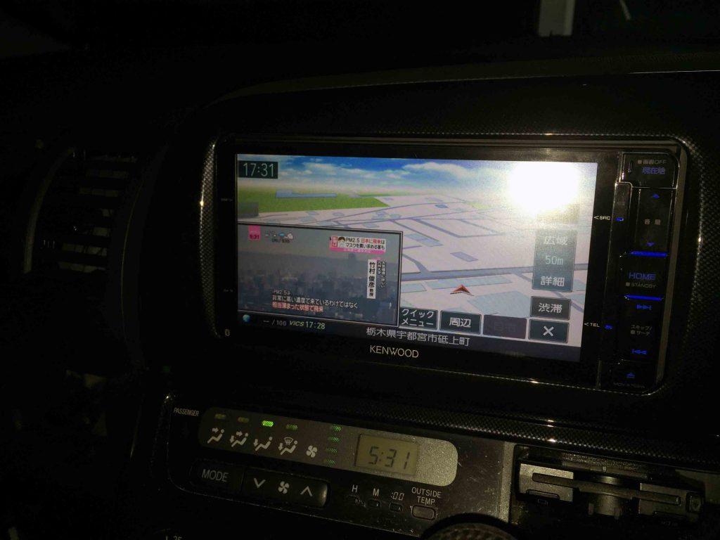 トヨタ10系ウィッシュに取り付けたケンウッドMDV-Z702Wのナビ画面