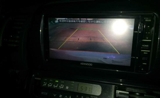 トヨタ10系ウィッシュに埋め込み加工し取り付けたバックカメラ映像