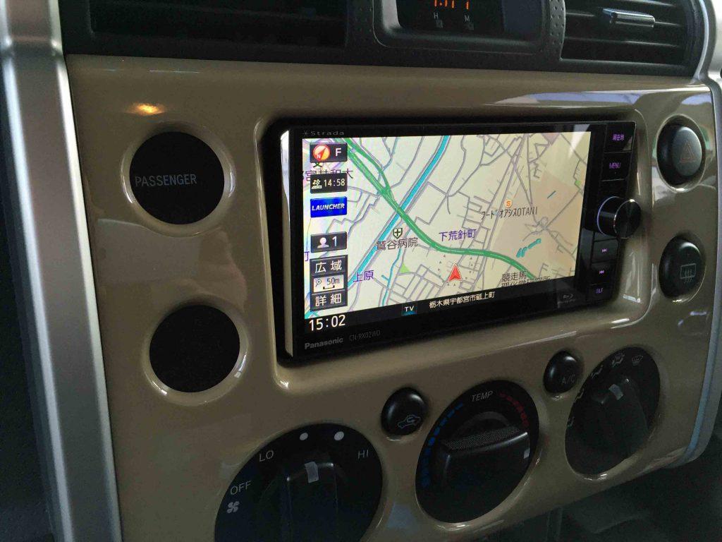 トヨタFJクルーザーへ取り付けたCN-RX02WDのナビ画面