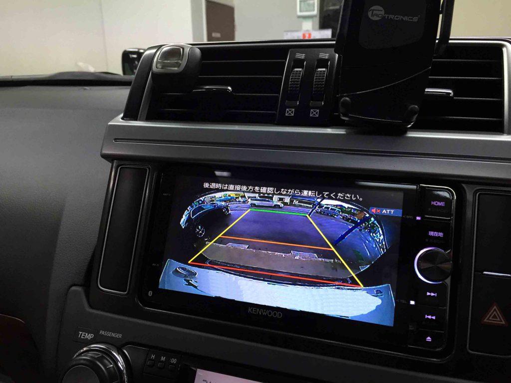 トヨタ150系ランドクルーザープラドへ取り付けたCMOS-320バックカメラの映像