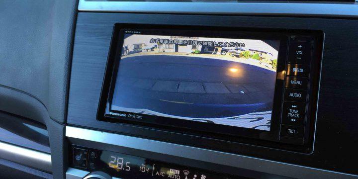 スバルアウトバックへ取り付けたバックカメラの映像。