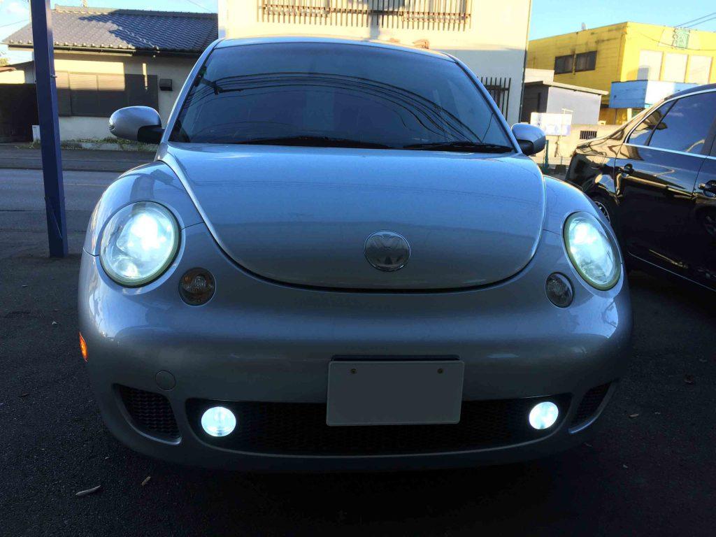 VW前期ニュービートルのLoビームとフォグランプをHIDし、明るさが格段にアップ。