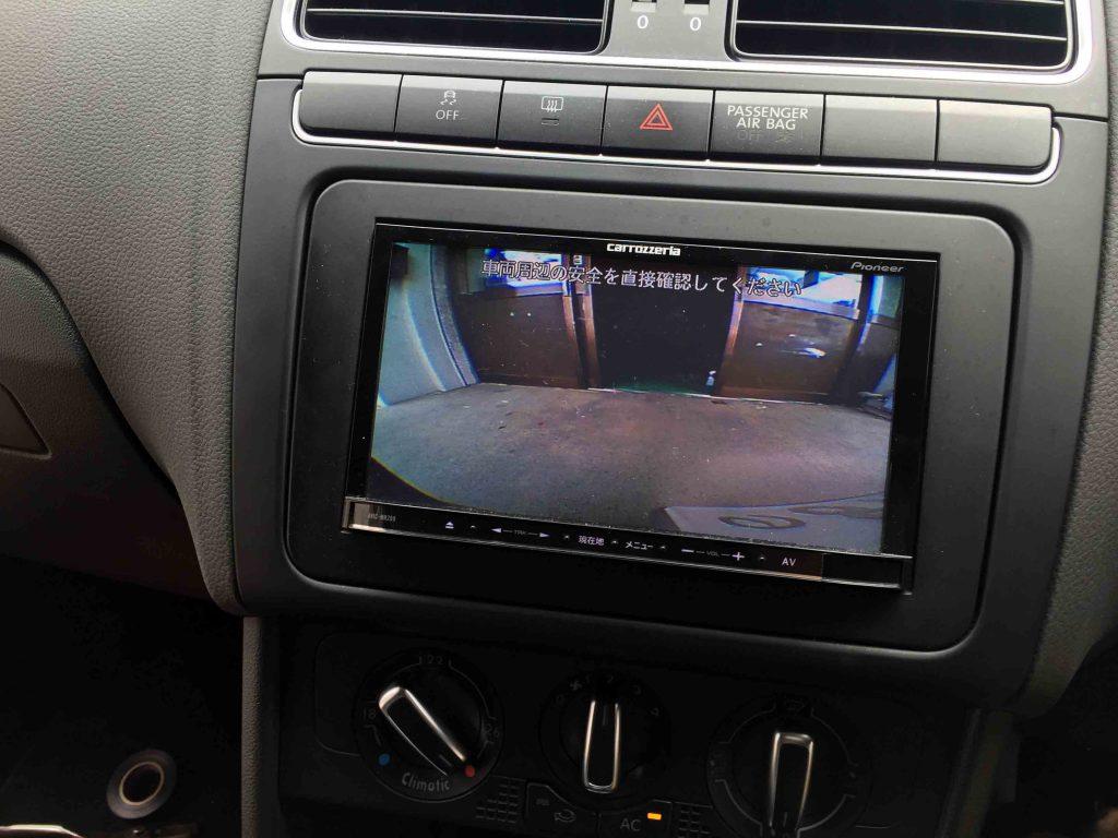 VWフォルクスワーゲンPOLO6R系へ取り付けたバックカメラの映像。