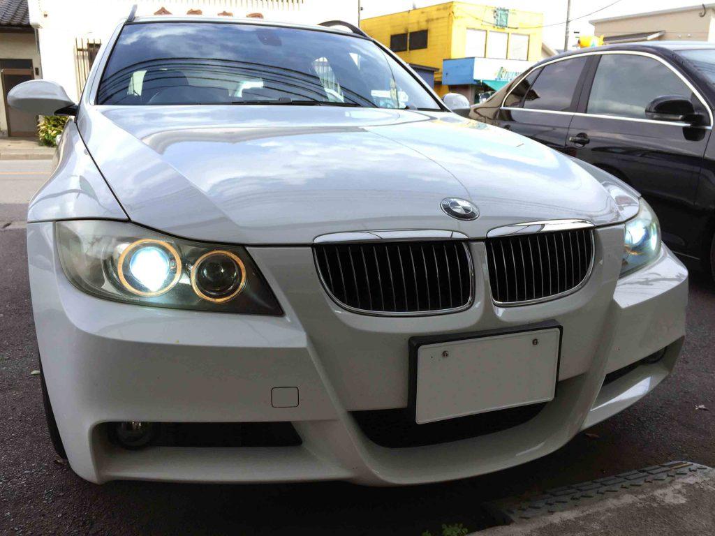 BMW E91 3シリーズのヘッドライトLoビームをD1S-6000Kバーナーへ交換後。
