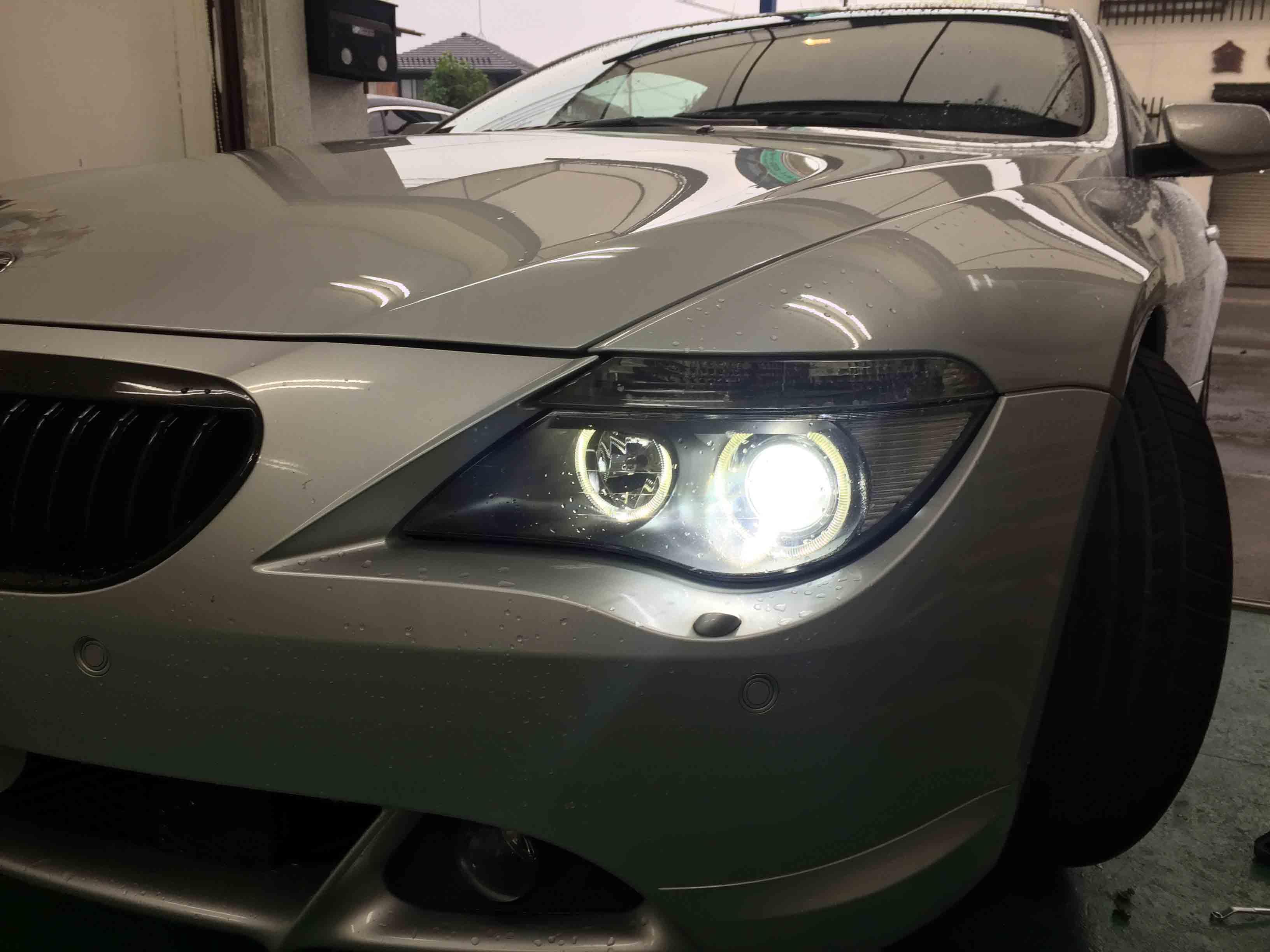 BMW6シリーズE63のヘッドライトバーナー交換後はチラつきも無く安定しています