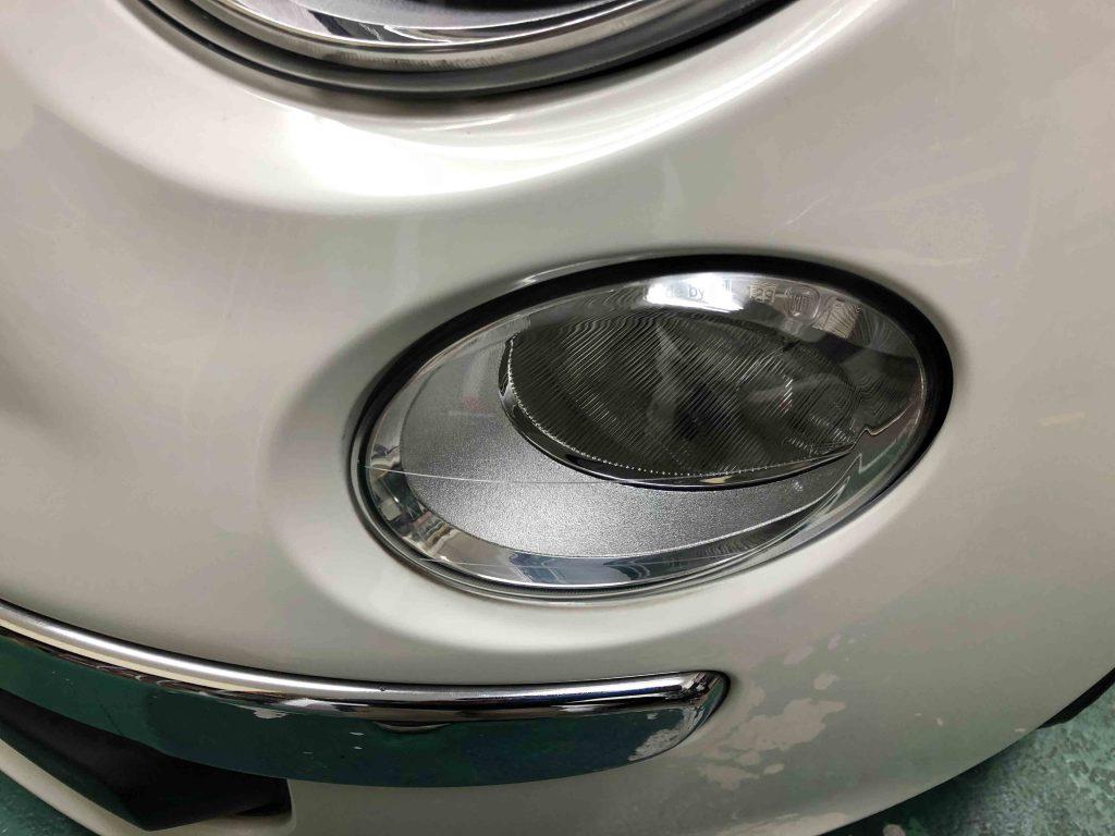 FIAT500のハイビーム側ライトをリフレッシュしクリアーで綺麗なヘッドライトになりました