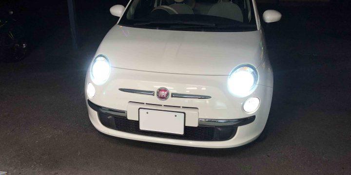 FIAT500のヘッドライトをHID化。35W-6000Kの純白色でとても明るくなりました。