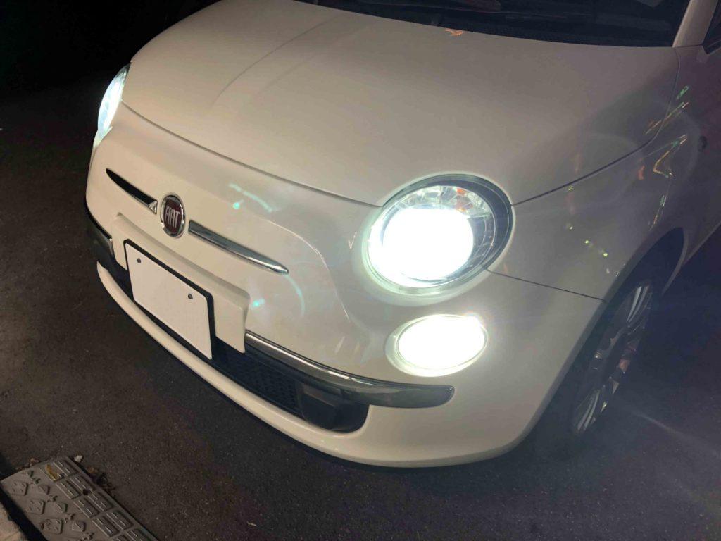 FIAT500のポジションランプをLED化し白色のポジションランプになりました