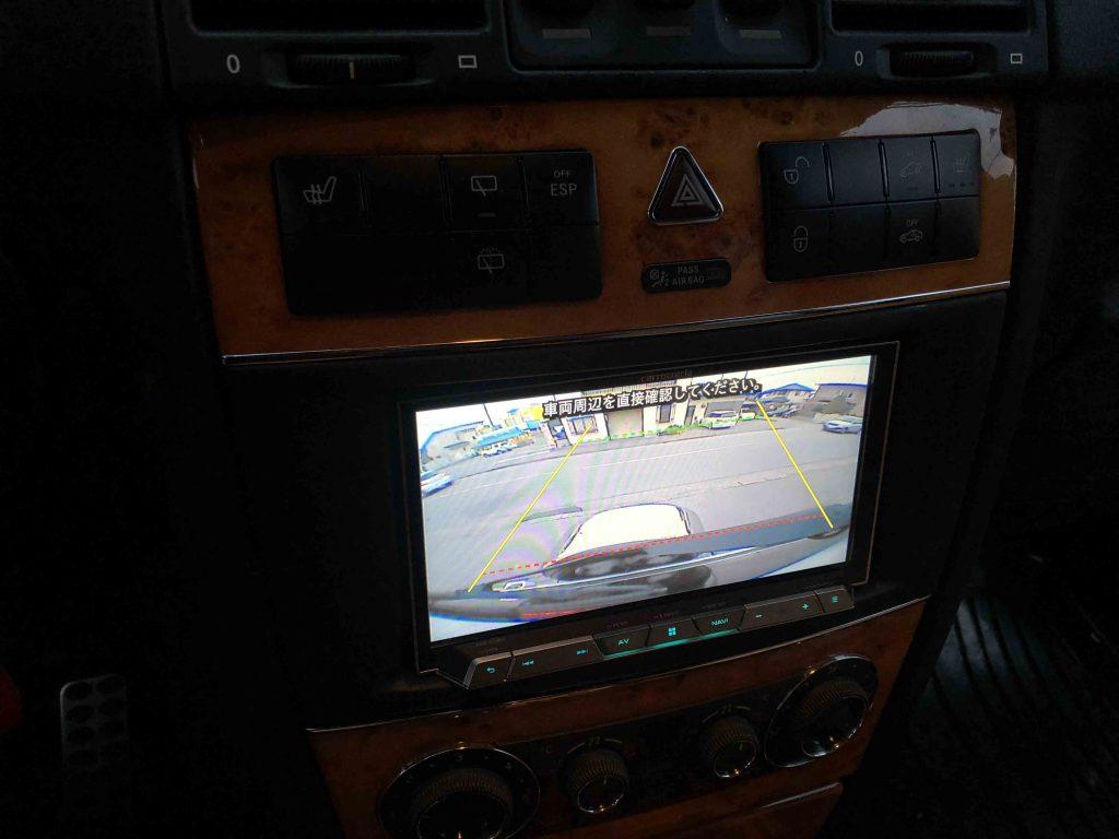 メルセデスベンツGクラス(ゲレンデ)に取り付けたバックカメラの映像
