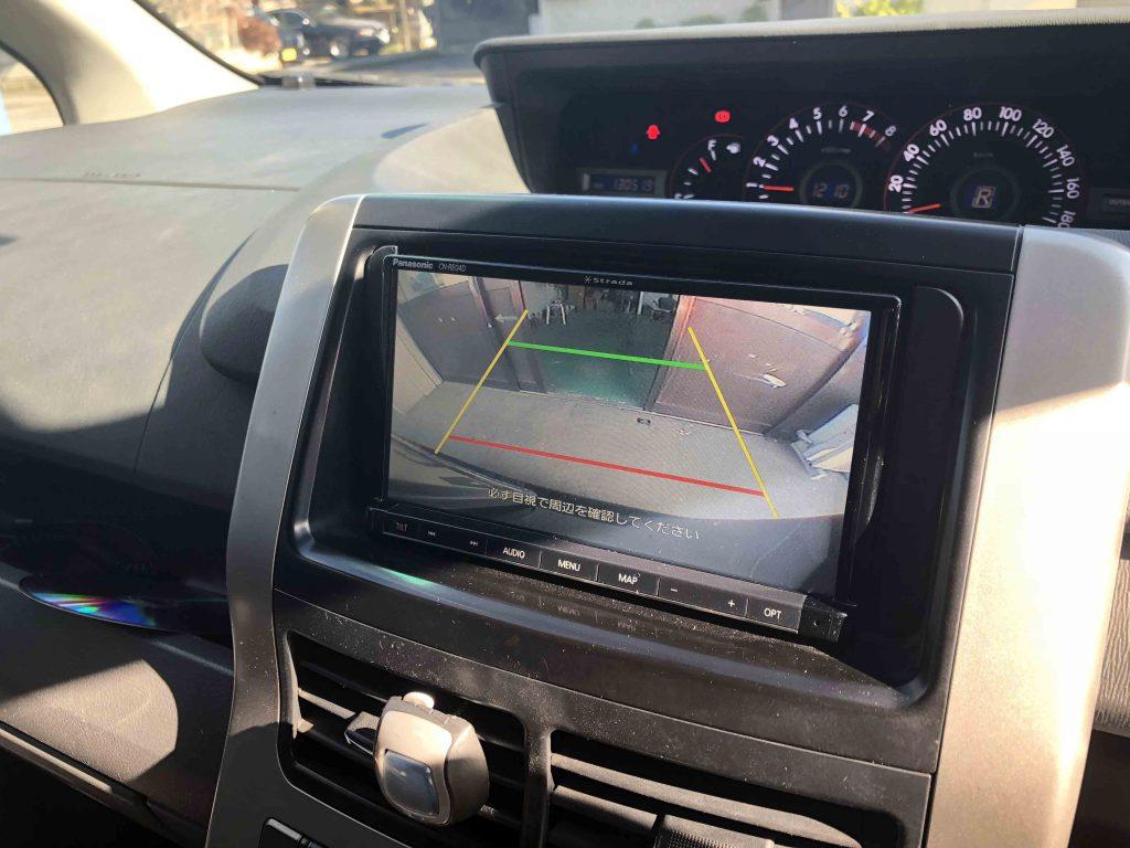 トヨタヴォクシー70系に取り付けたCN-RE04Dに接続した純正バックカメラの映像